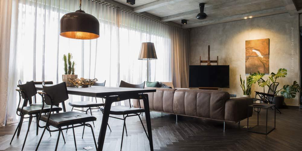 Muebles para el hogar: materiales y lámparas; accesorios para la habitación.